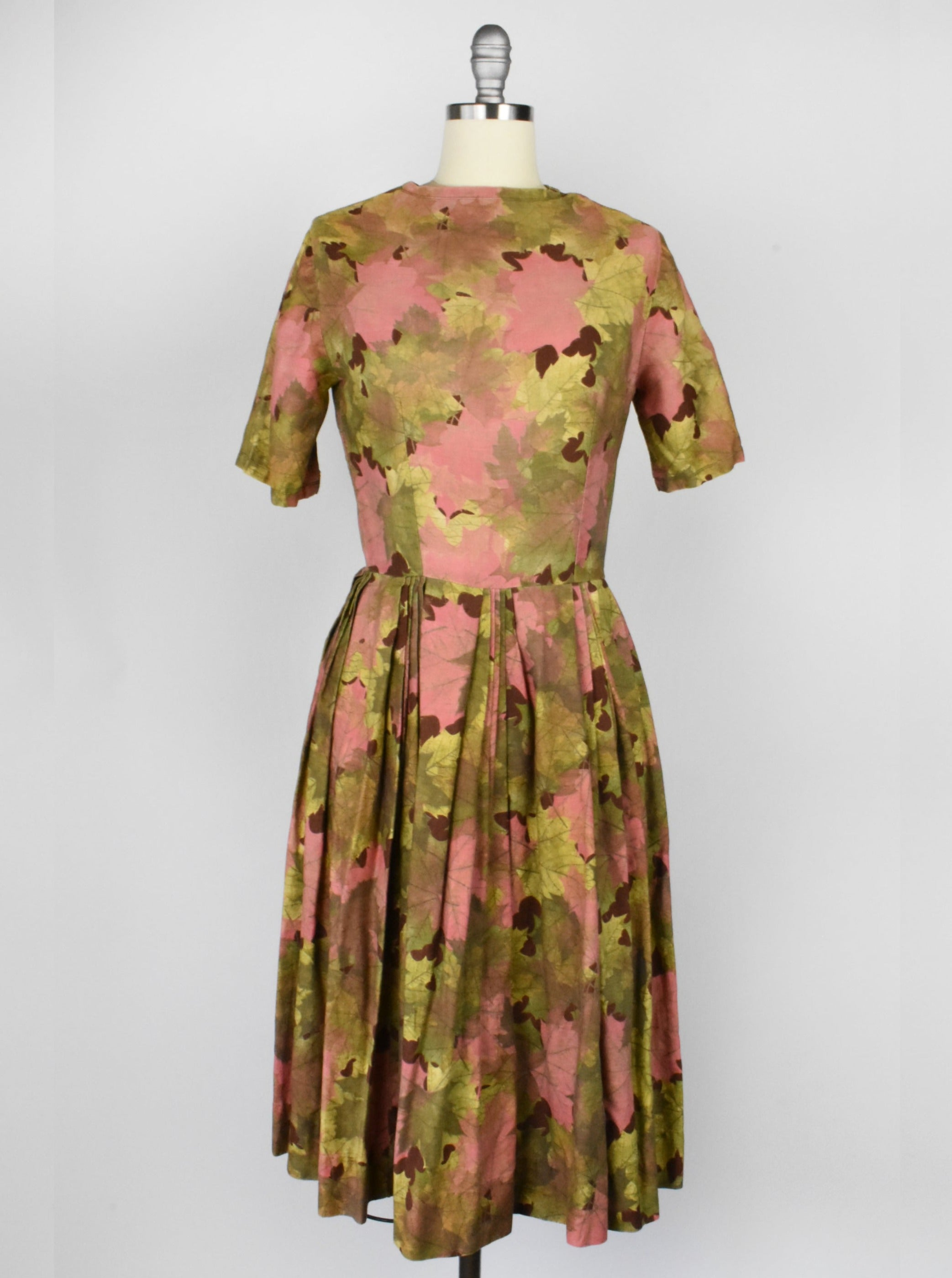 Pink and Green 1950's Autumn Leaf Print Swing Dress