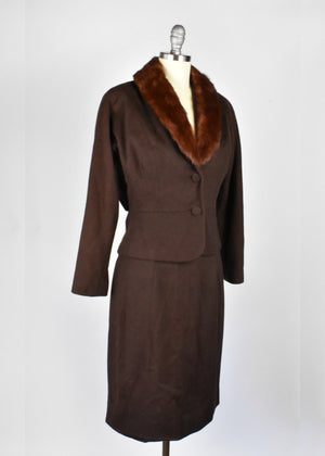 Vintage 1950's 2-Piece Jacket and Skirt Suit with Mink Collar