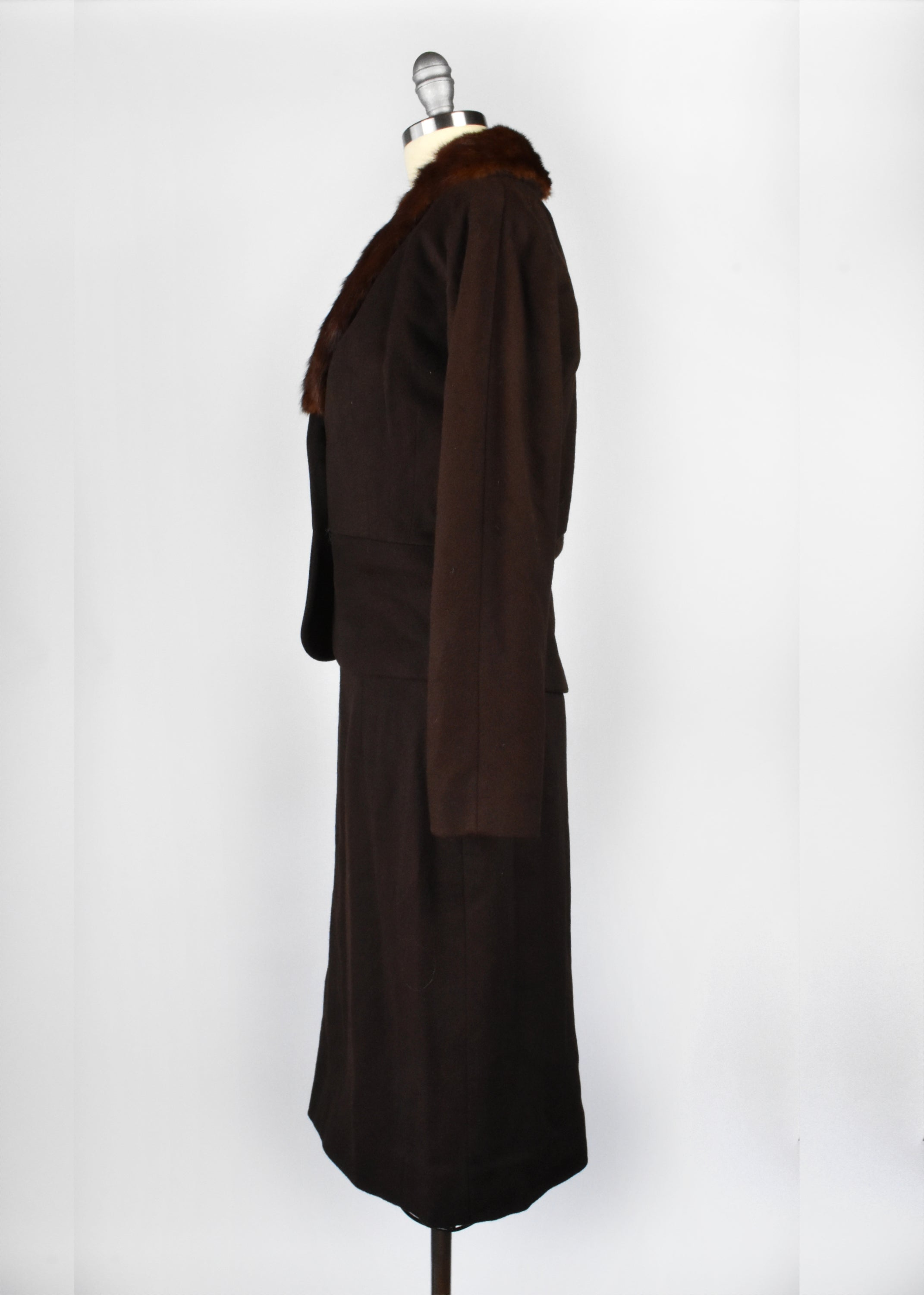 1950's 2-Piece Jacket and Skirt Suit with Mink Collar