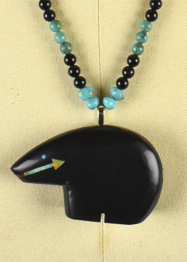 Zuni Black Bear Fetish Pendant with Turquoise by Navajo Artist Henry Yazzie