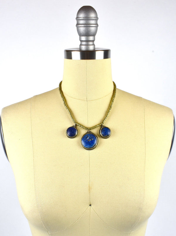 Triple Pendant Tibetan Lapis Silver Necklace