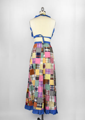 Vintage Patchwork Skirt and Halter Top by Gunda Fashions