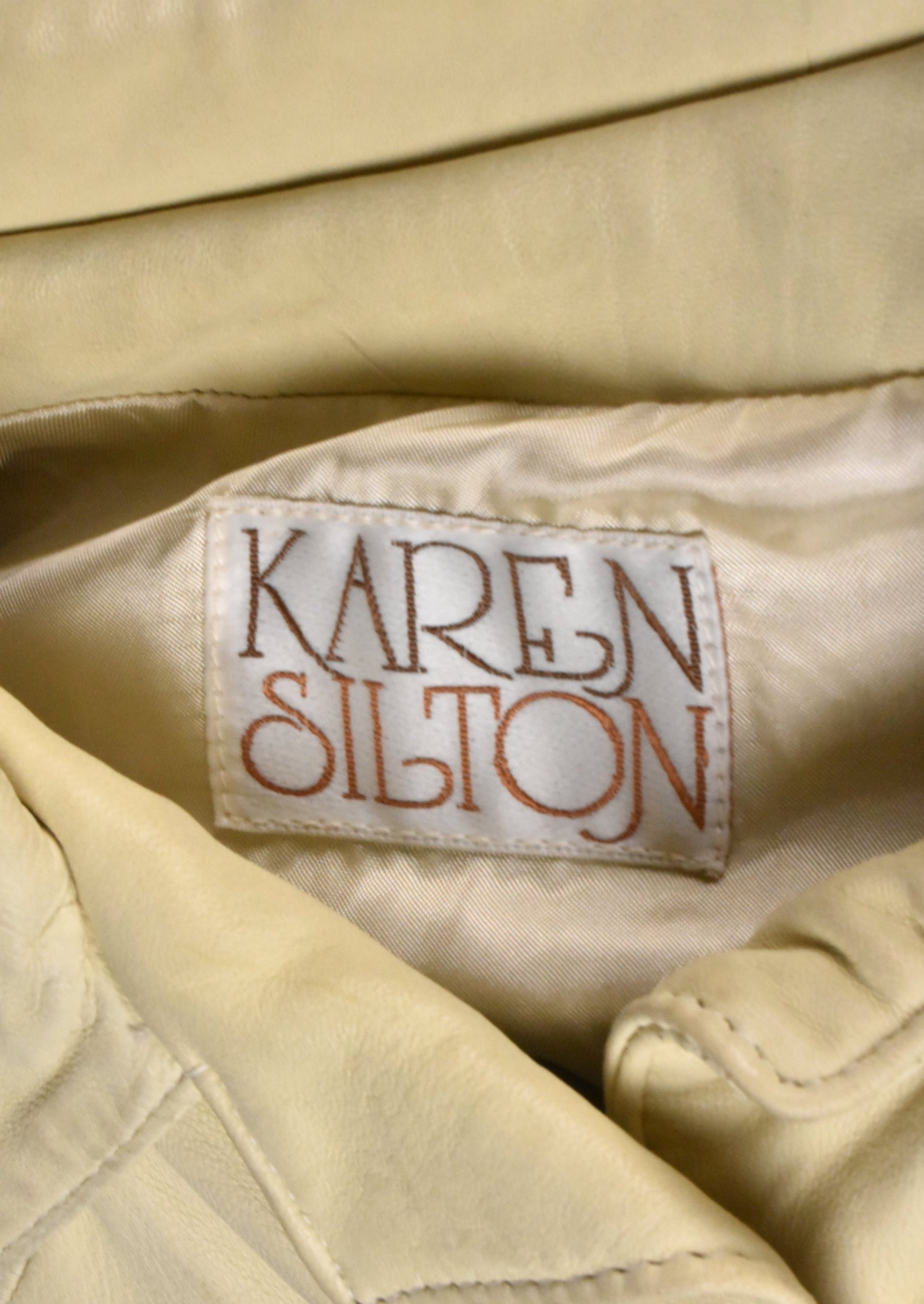 Beige Leather Shirt Jacket by Karen Silton