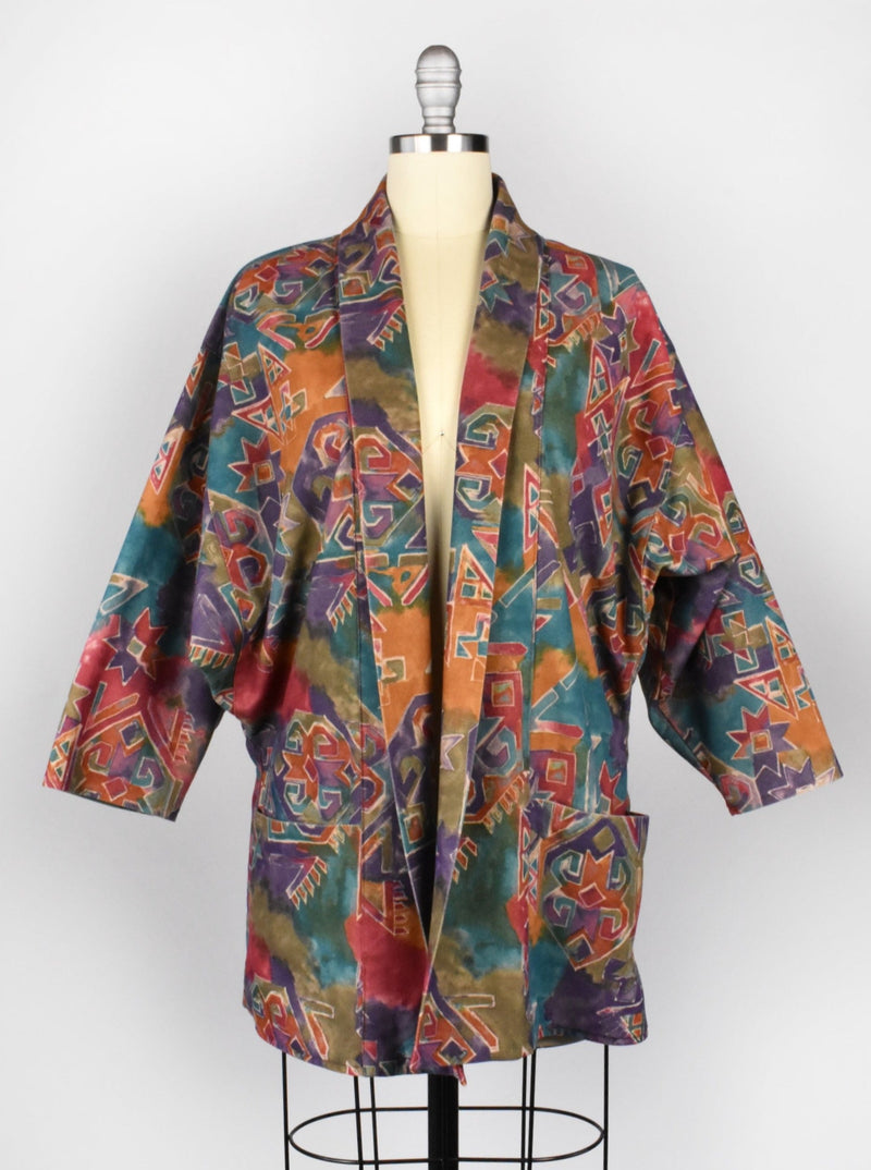 Vintage Abstract Southwestern 80's Blazer with Dolman Sleeves