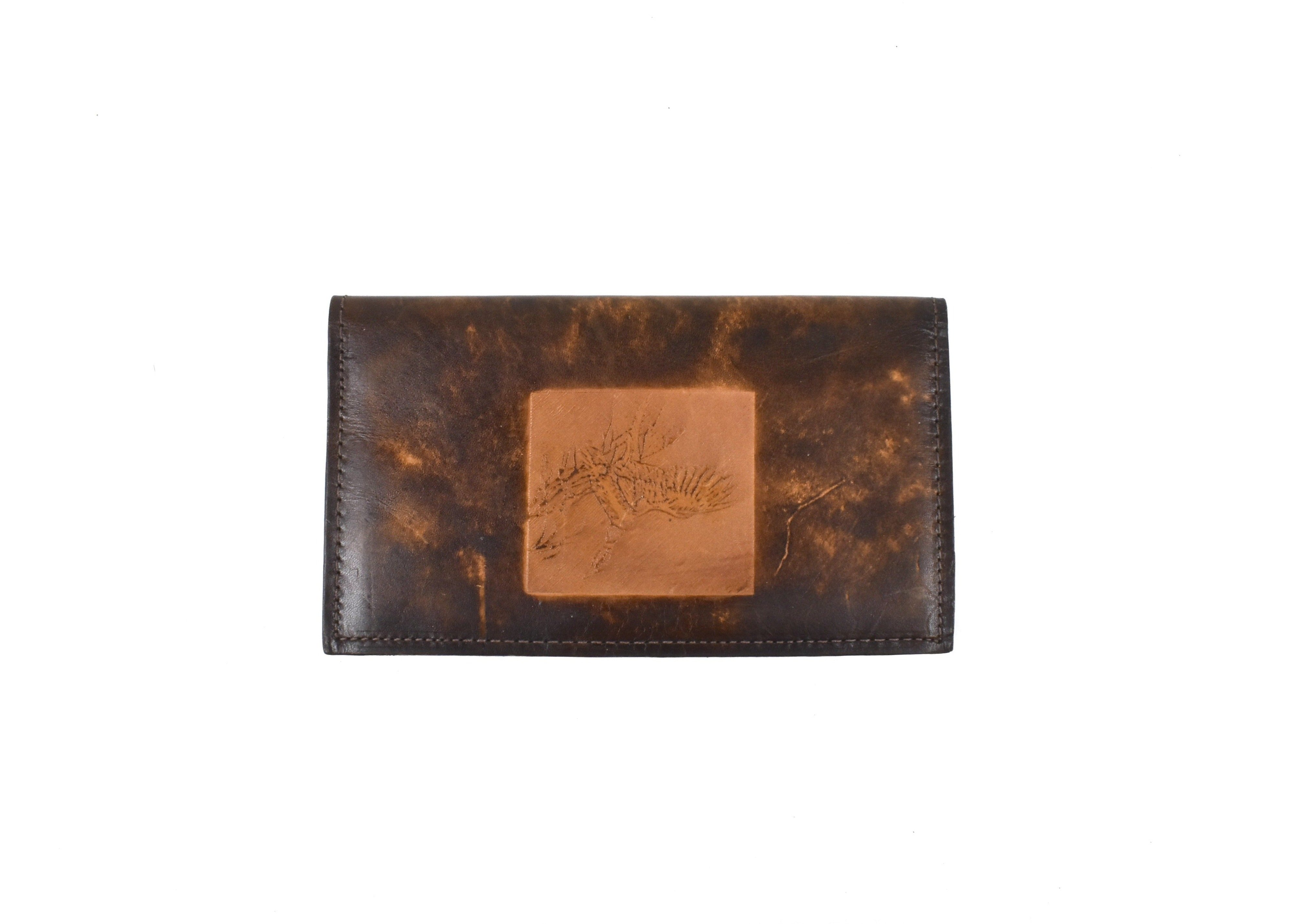 Vintage Leather Checkbook with Flying Mallard