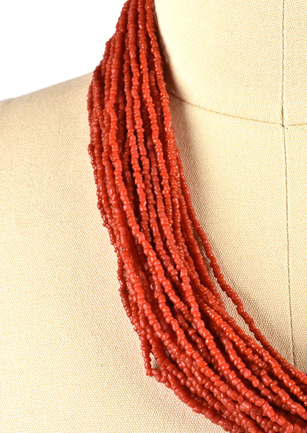 Red Multi-Strand Beaded Necklace with 1919 Indian Quarter