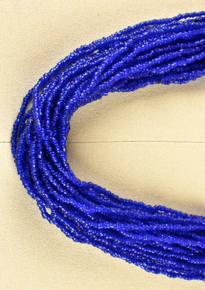 Cobalt Blue Multi-Strand Beaded Necklace with 1940's Indian Quarter