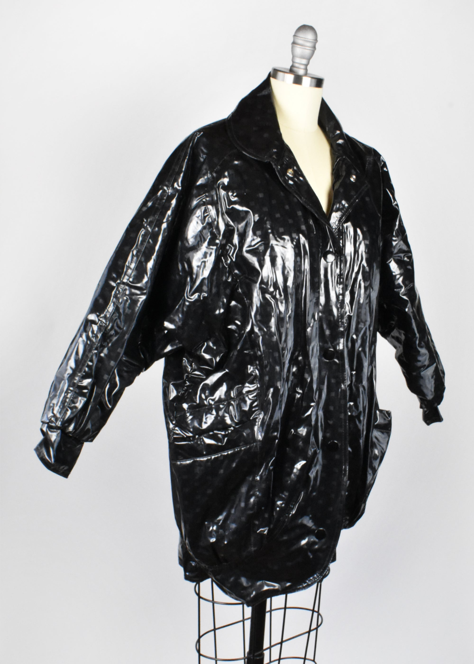 Vintage 1980's Puffy Black Raincoat by Avon Fashions