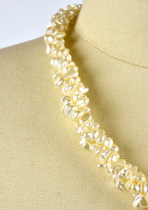 Braided Freshwater Pearl Biwa Multistrand Necklace