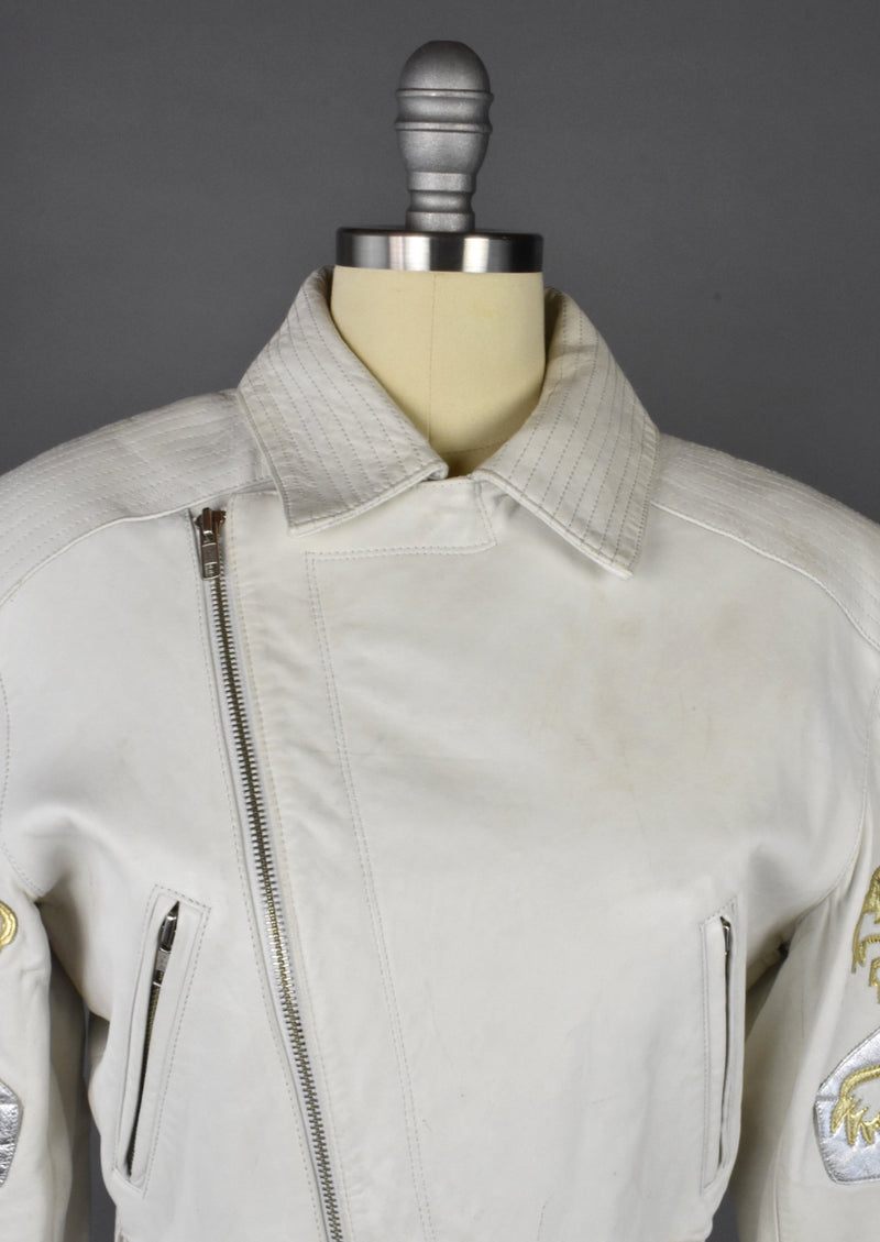1980's Michael Hoban North Beach Leather Jacket with Gold Tiger