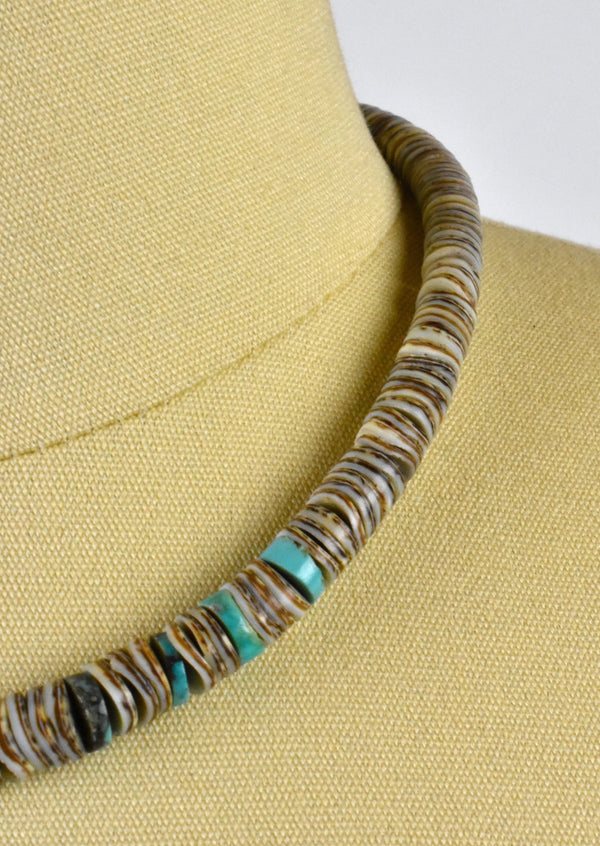Brown and White Shell Choker Necklace with Turquoise