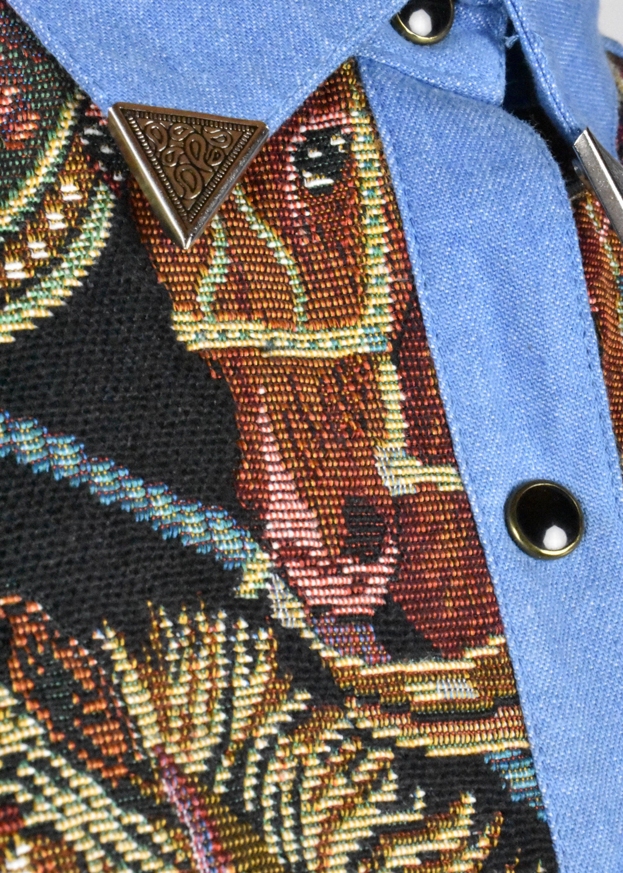 Vintage Denim Horse Tapestry Blouse with Silver Collar Tips