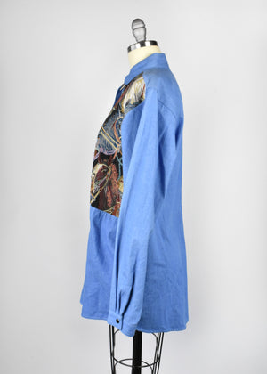 Denim Horse Tapestry Blouse with Silver Collar Tips