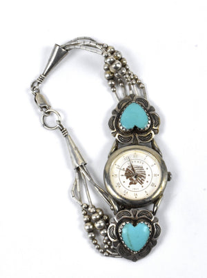 Sterling Silver Layered Watch Band with Turquoise Hearts