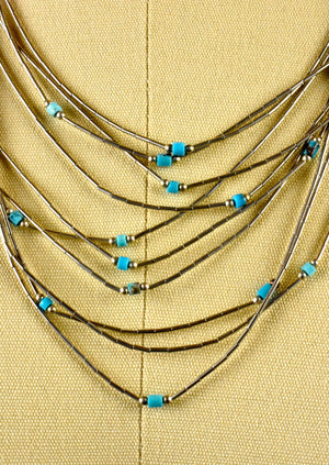 10 Strand Sterling Silver Layered Necklace with Turquoise Beadwork