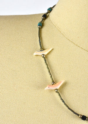 Zuni Antler Bird Fetish and Sterling Silver Choker Necklace