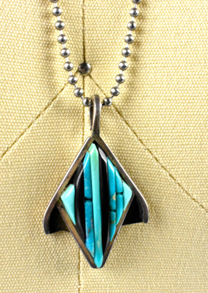 Uniquely Shaped Turquoise and Onyx Pendant Set in Sterling Silver