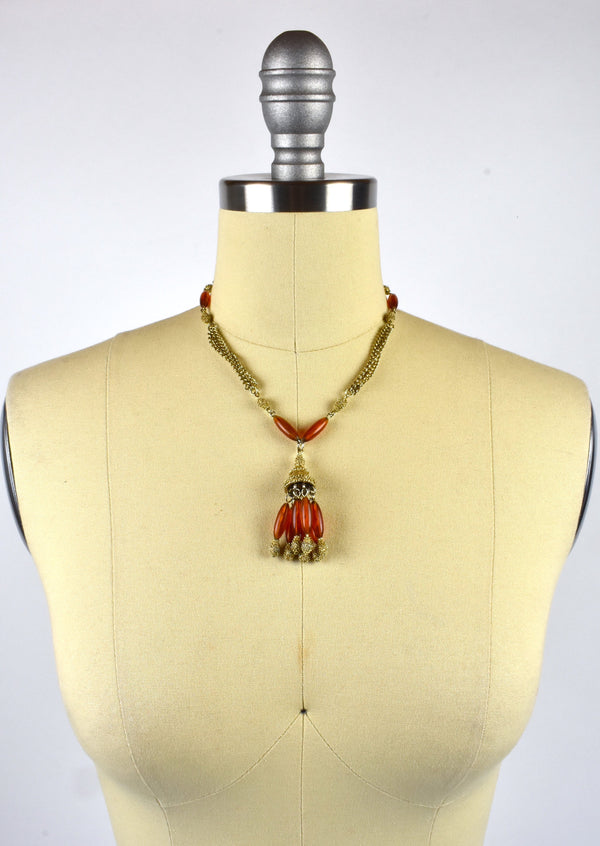 Beaded Mid Century Modern Drop Necklace