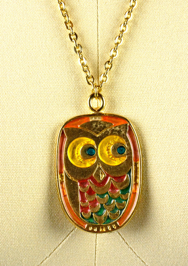 1970's Quirky Owl Pendant on Chain