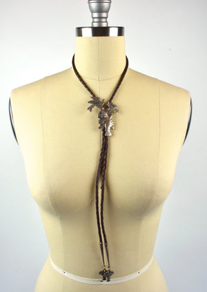 Sterling Silver Bolo Tie with Hands Holding a Flower Bouquet and Flying Doves - Incredible Piece!