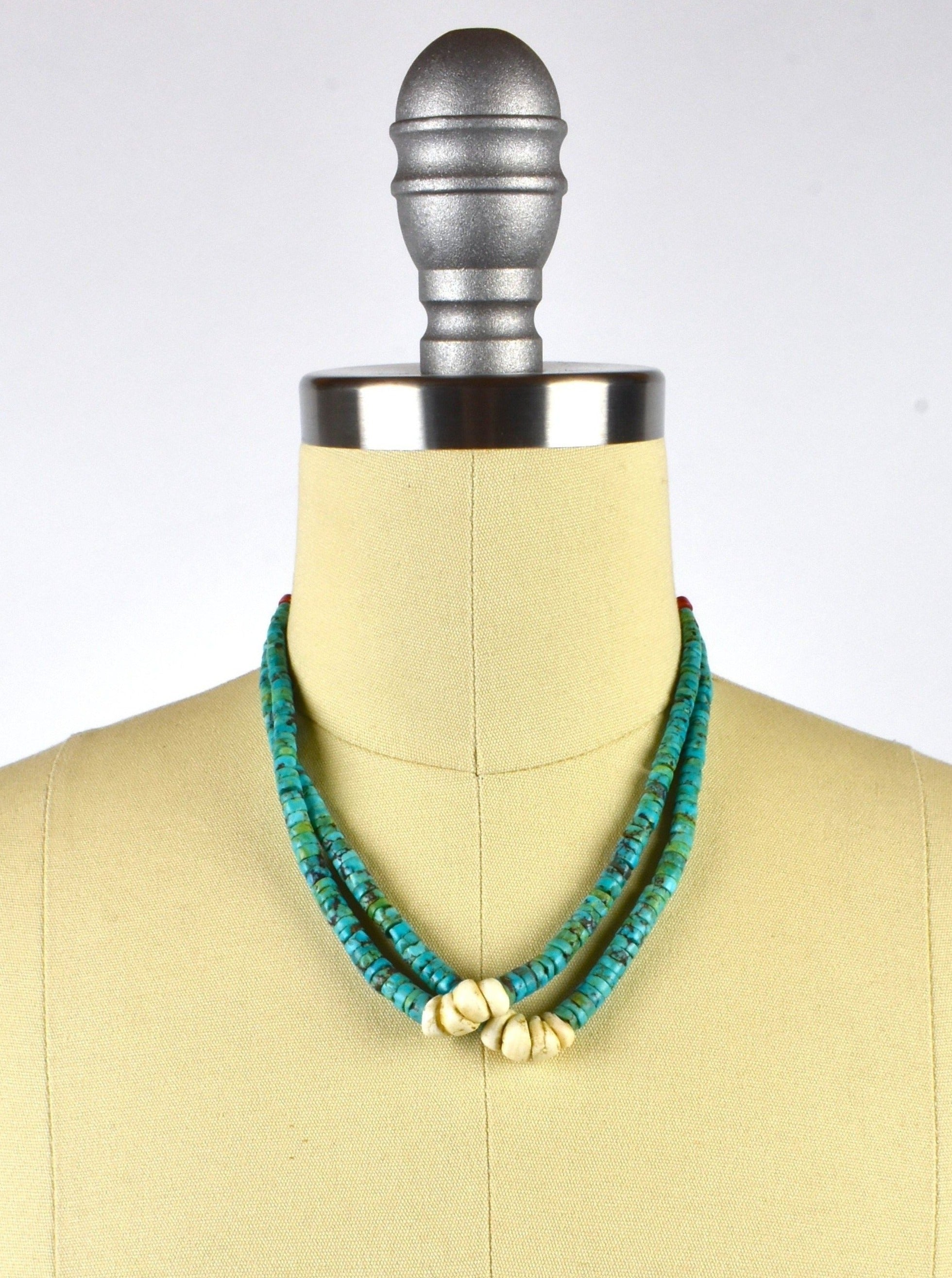 Turquoise, Coral and Stone Southwestern Style Layered Necklace
