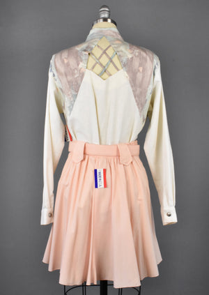 Vintage Pastel Western Skirt & Blouse, Made in USA