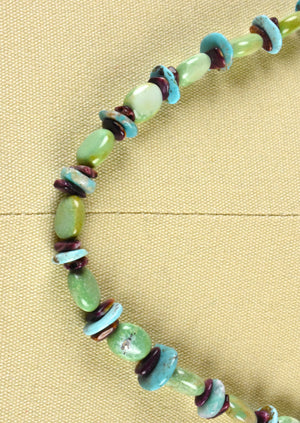 Polished Turquoise Stones and Jasper Necklace with Sterling Silver Clasp