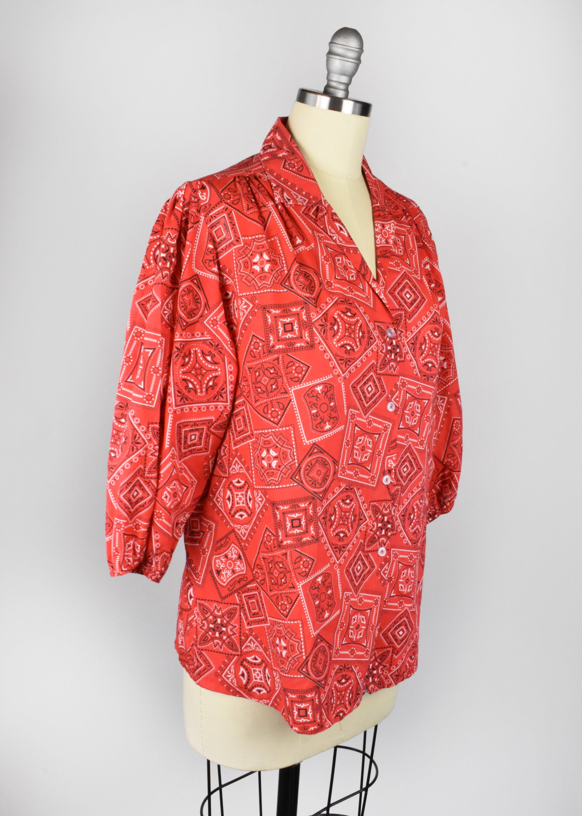 Vintage Red Handkerchief Print Blouse