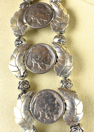 Rare Layered Sterling Silver Squash Blossom - 1941 Walking Liberty Naja with 1920'-1930's Buffalo Nickel Petals and Rose Beads