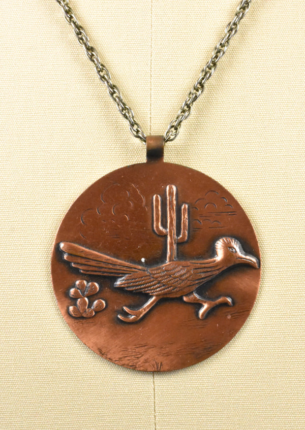 Copper Roadrunner and Saguaro Pendant on Necklace
