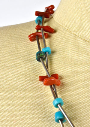 Turquoise and Coral Layered Necklace with Sterling Silver