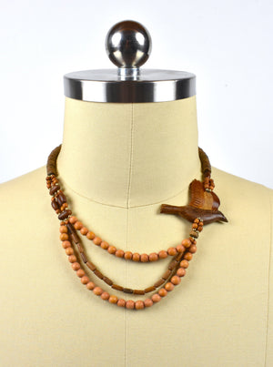 Beaded Wooden Layered Necklace with Floating Wooden Bird