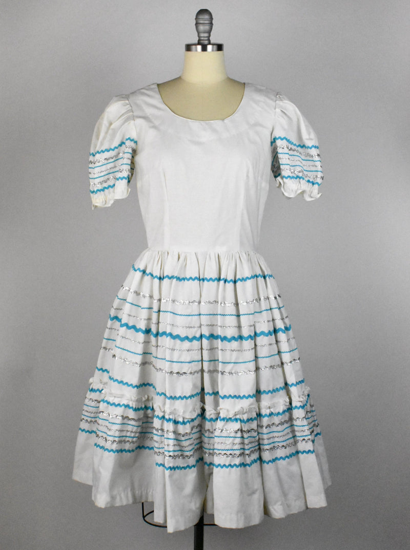 Vintage White, Turquoise and Silver Fiesta Dress