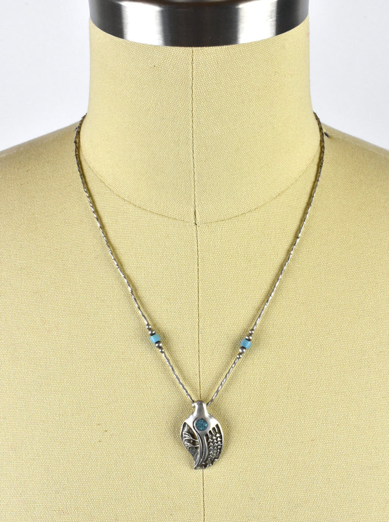 Sterling Silver Quail Pendant with Turquoise Flake on Sterling Silver Chain