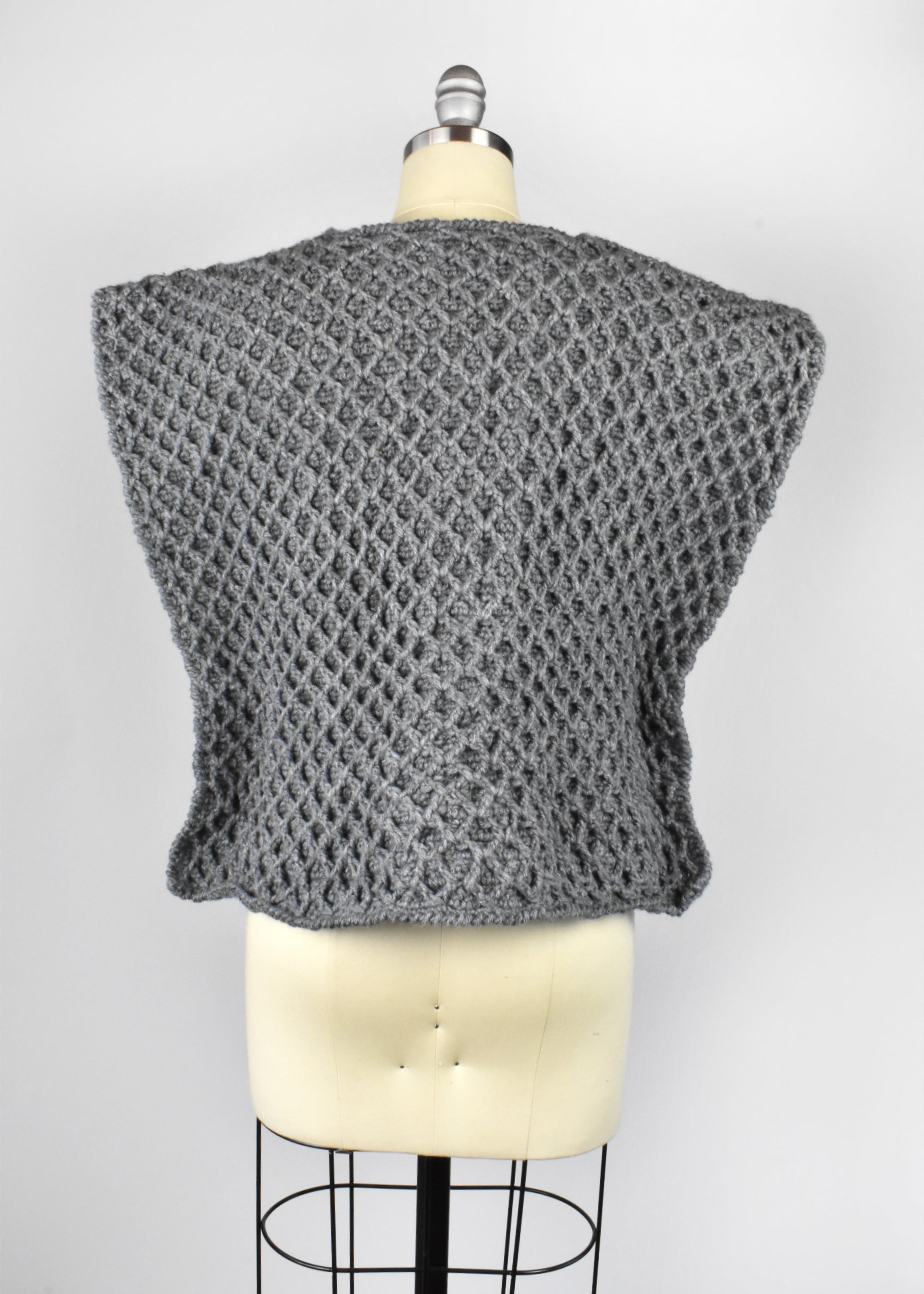 Vintage Rustic Gray Crochet Top with Wooden Buttons
