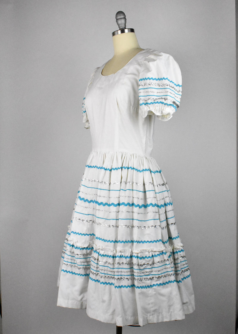 White, Turquoise and Silver Fiesta Dress