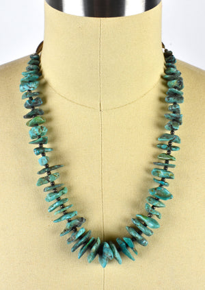 Santa Fe Style Large Array Turquoise Necklace with Sterling Silver Beadwork