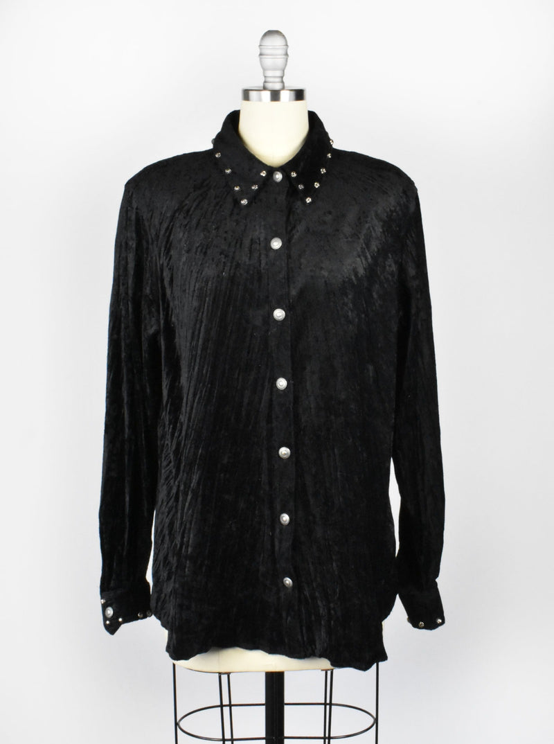 1980's Black Velvet Blouse with Silver Embellishments