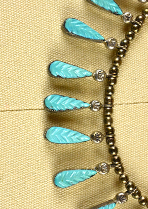 Leaf Turquoise Necklace Set in Sterling Silver with Silver Beadwork Strand