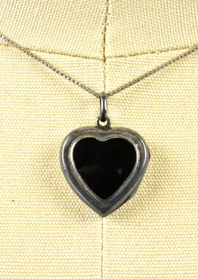 Black Heart Picture Locket - Sterling Silver