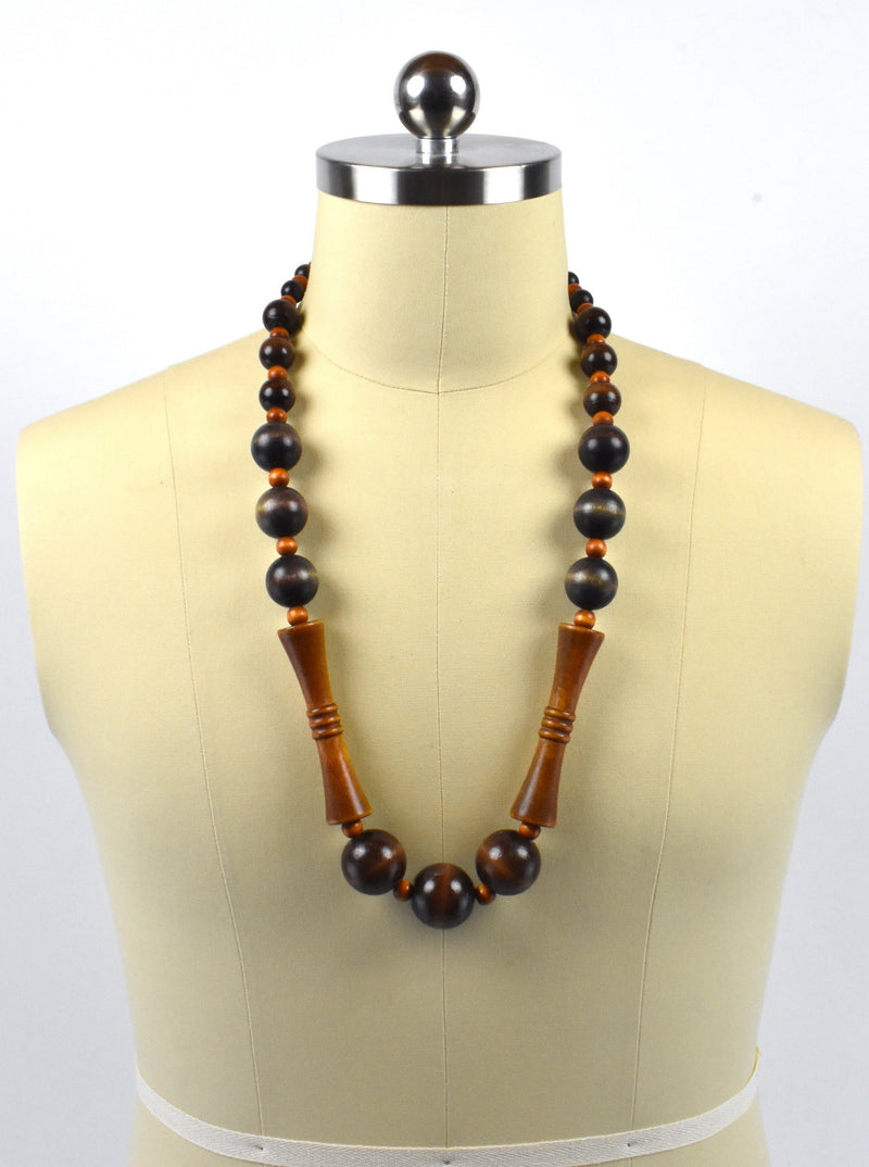 Large Wooden Ball Bead Boho Necklace