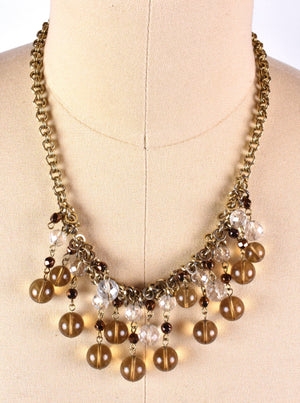 Talbots Multi-Strand Smoky Glass and Crystal Beads on Copper Necklace