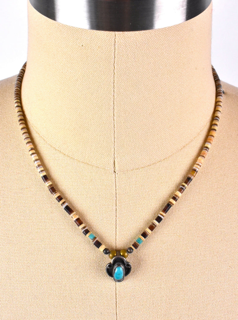 Old Pawn Necklace with Sand Cast Sterling Silver Pendant with Turquoise and Shell Beading