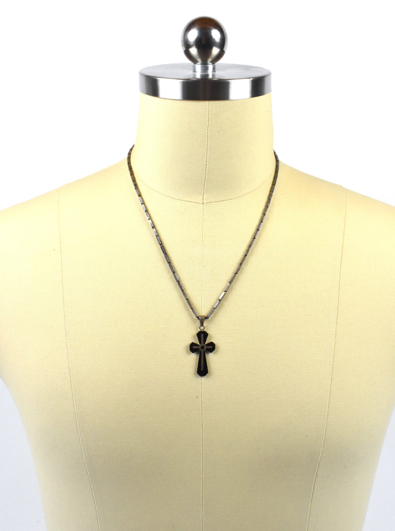 Onyx and Sterling Silver Cross with Sterling Silver Chain