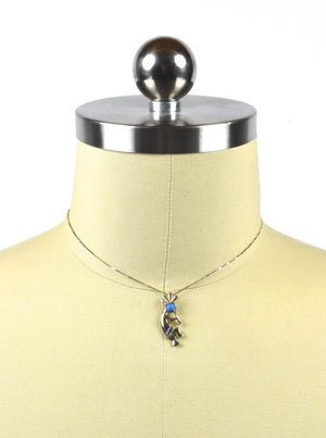 Sterling Silver Kokopelli Pendant Choker Necklace with Sleeping Beauty Turquoise