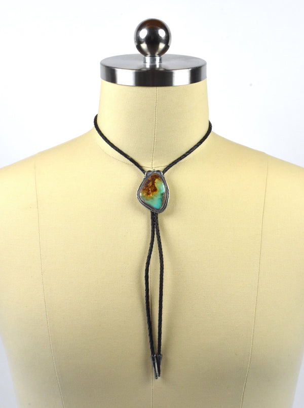 Vintage Sand Cast Sterling Silver and Turquoise Bolo Tie by JF (Johnny Frank) 1911 - Stamped
