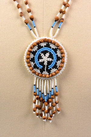Southwest Native Indian Beaded Rosette Necklace with Deerskin Leather, Seeds, and Fringe