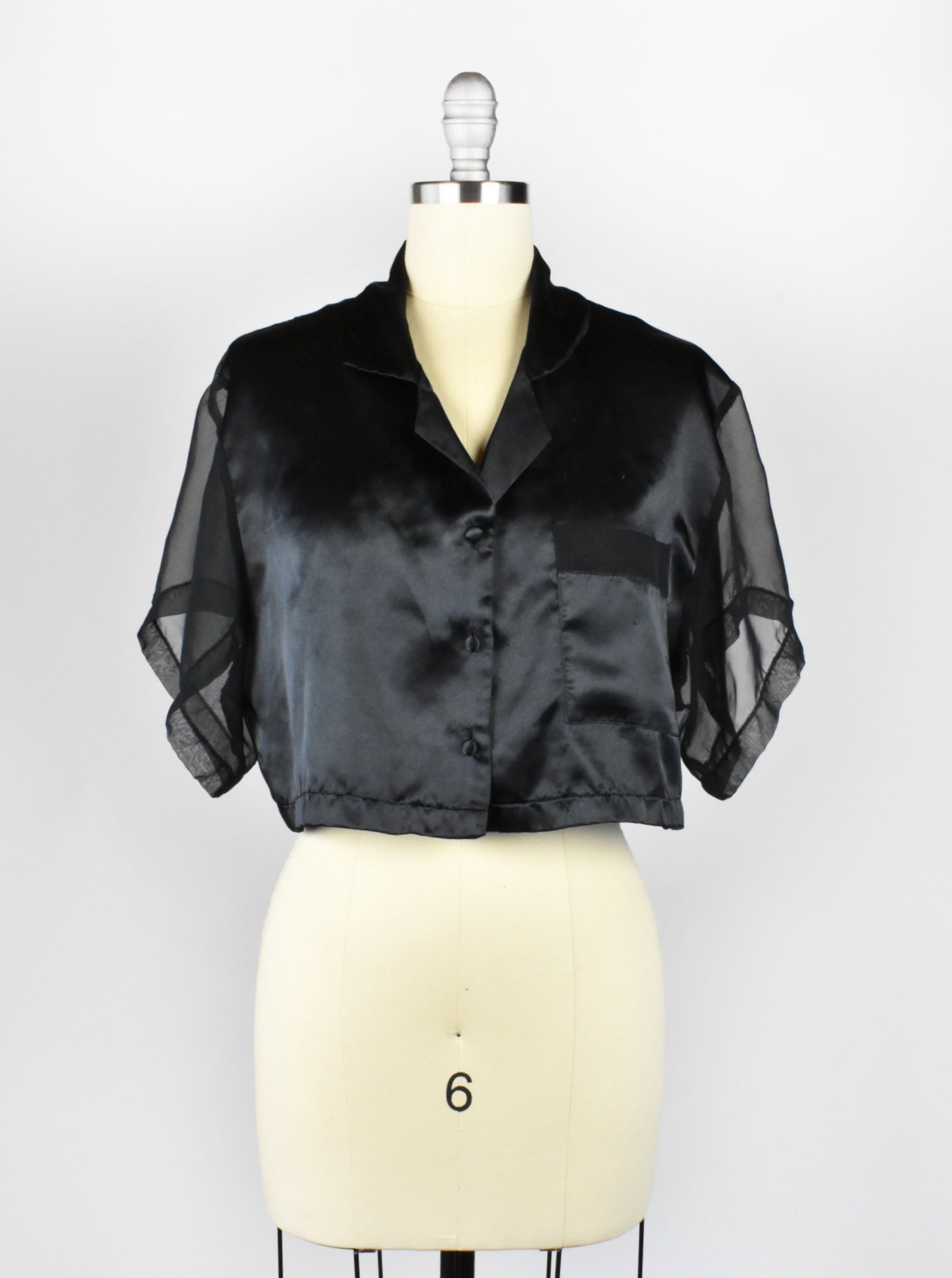 Black Sheer Cropped Blouse
