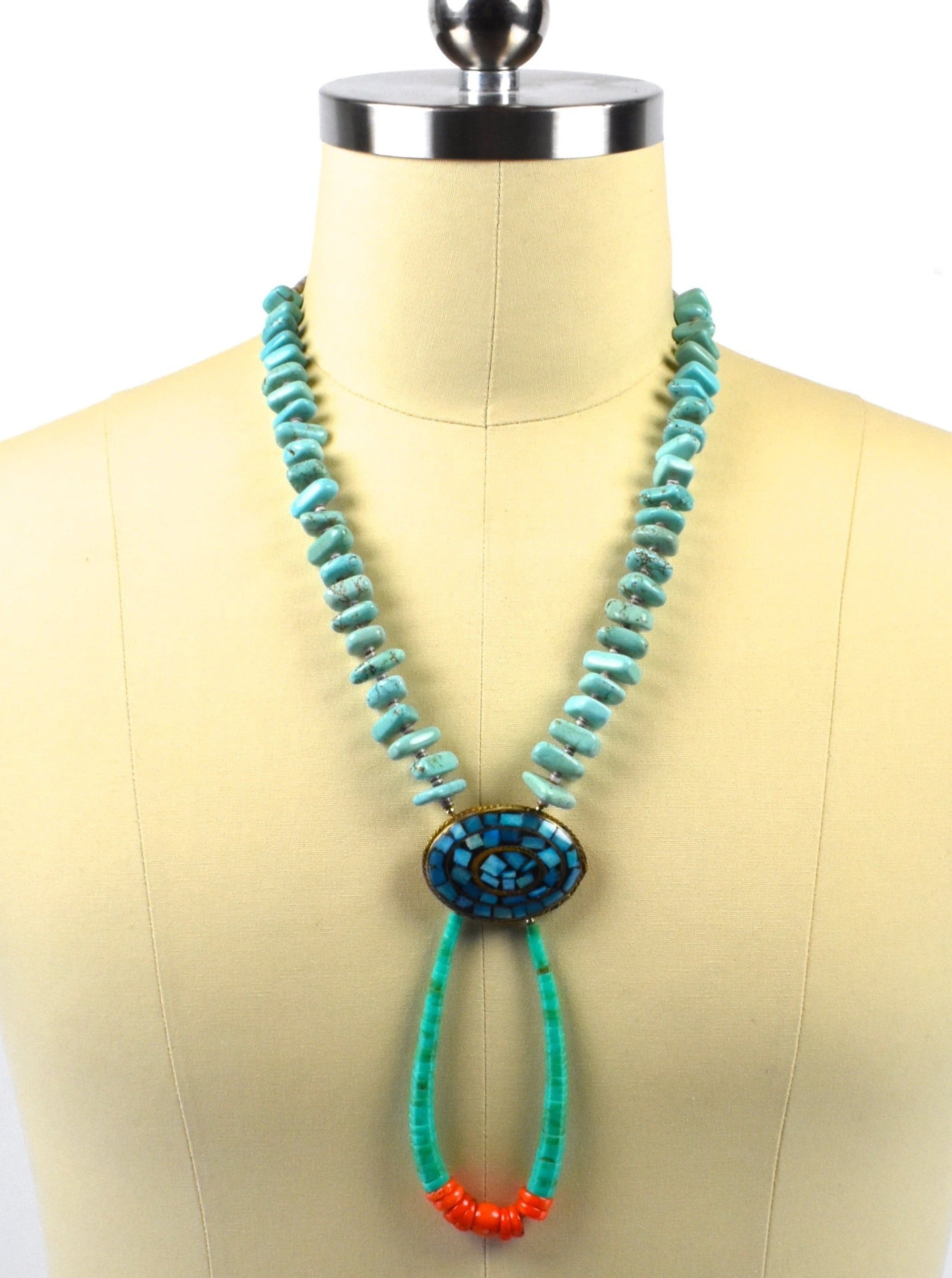 Vintage Old Pawn Santo Domino Turquoise Kewa Necklace with Coral and Amazonite in Copper