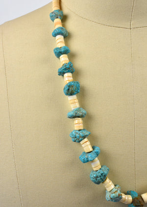 Raw Turquoise and Shell Southwestern Long Necklace